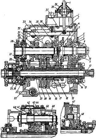 Рис. 1. КПП тракторов МТЗ с подвижными шестернями.  1 - рычаг переключения передач; 2 - крышка; 3 - ведомая шестерня...